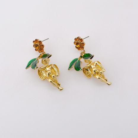 Cupid leaf fun retro baroque little angel retro vintage earrings wholesale NHNT254573's discount tags
