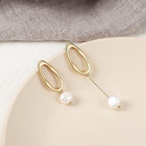 Boucles d'oreilles en perles irrégulières Rhombus Boucles d'oreilles asymétriques NHPF254575's discount tags