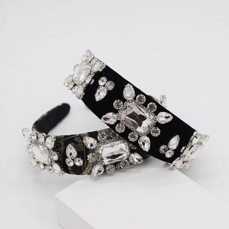 Diadema geométrica de lujo de franela con piedras preciosas de diamantes completos NHWJ254582's discount tags