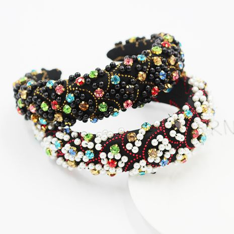 Fashion Sponge Particle  Pearl  Geometric Diamond Hair Hoop  NHWJ254586's discount tags