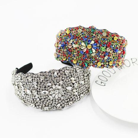 Diadema de lados anchos con forma geométrica tachonada de diamantes barrocos de nueva moda NHWJ254587's discount tags