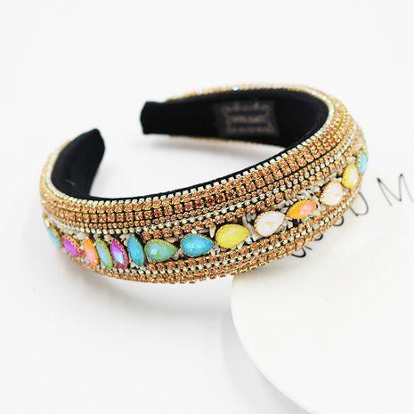 Fashion full diamond luxury colorful gemstone retro headband  NHWJ254589's discount tags