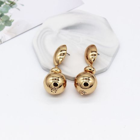 Korean Baroque style fashion retro golden drop ball nightclub alloy earrings NHWJ254590's discount tags