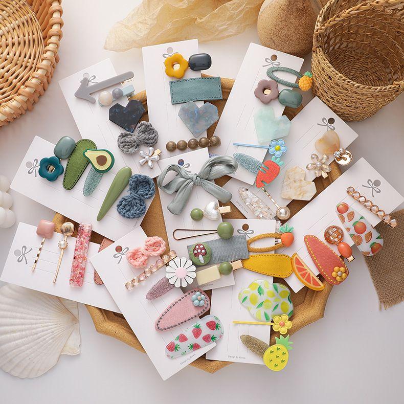 Korea fruit hairpin side clip simple hair clip headdress 5 piece set wholesale NHMS254592