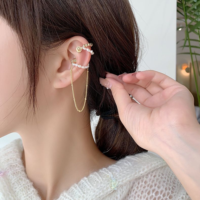 Simple chain tassel new tide magnet natural freshwater pearl without pierced ear bone clip NHMS254593