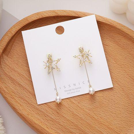 Boucles d'oreilles en alliage d'aiguille en argent 925 avec perles de zircon coréen NHMS254597's discount tags