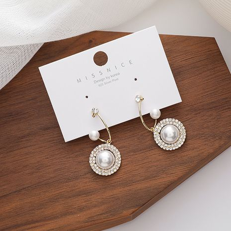 Aiguilles en argent 925 enveloppées de diamants boucles d'oreilles simples torsadées de mode perle NHMS254602's discount tags