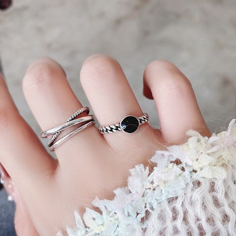 Korean retro old cross open ring design simple  ring wholesale NHMS254613's discount tags