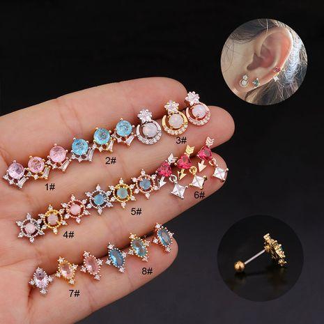 Nouvelle couleur coréenne ronde en zircon oreille en os ongles boucles d'oreilles à vis en acier inoxydable NHEN254616's discount tags