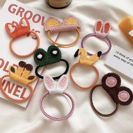 Korean ladies simple and cute knitted cartoon hair rope girl sweet cute rubber band wholesale NHCQ254624's discount tags