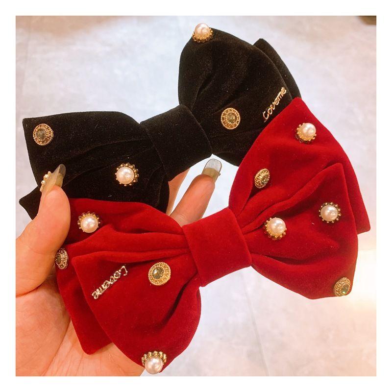 Korea  new  bow rhinestone velvet hair clip wholesale NHHD254660
