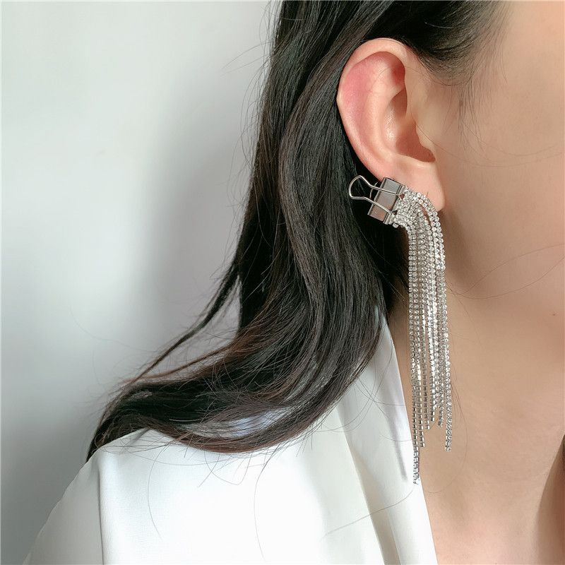 fashion long  clip full of diamonds tassels exaggerated fashion no pierced ear clips wholesale  NHYQ254673