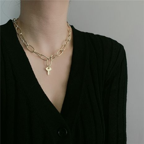 thick chain lock necklace clavicle chain simple fashion necklace wholesale  NHYQ254672's discount tags