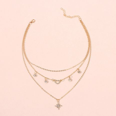 Fashion multilayer hexagram  retro exaggerated love diamond necklace  NHRN254696's discount tags