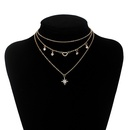 Fashion multilayer hexagram  retro exaggerated love diamond necklace  NHRN254696