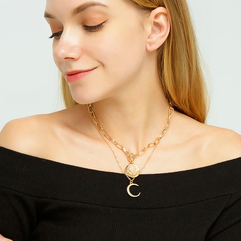 Fashion  alloy moon women's necklace clavicle chain NHRN254702