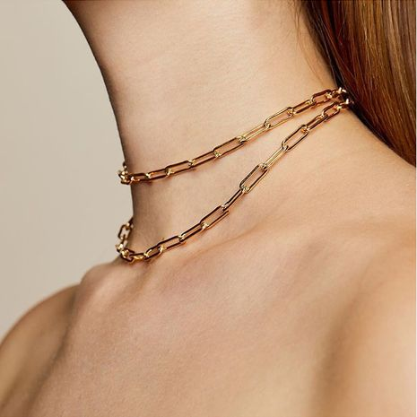 Fashion metal buckle clavicle chain shiny silver necklace NHRN254709's discount tags