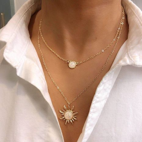Fashion multi-layer sunflower women's necklace wholesale NHRN254715's discount tags