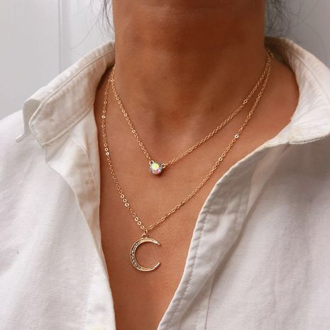 Hot-selling  moon pendant multilayer necklace wholesale NHRN254714's discount tags