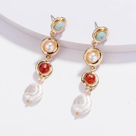 Boucles d'oreilles pendantes en pierre naturelle avec perles à pompon et perles élégantes rétro pour femmes NHAN254727's discount tags