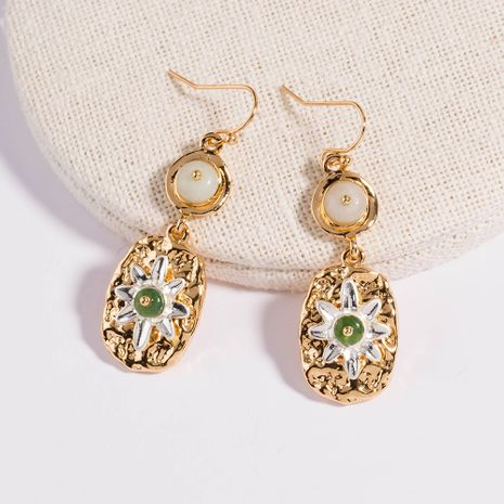 Korea simple glossy fruit green natural stone earrings wholesale NHAN254729's discount tags