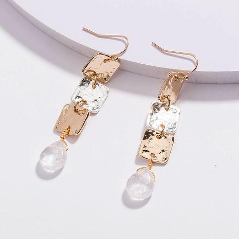 boîte en métal de mode de vente chaude longues boucles d'oreilles simples pendentif en cristal transparent en gros NHAN254728's discount tags