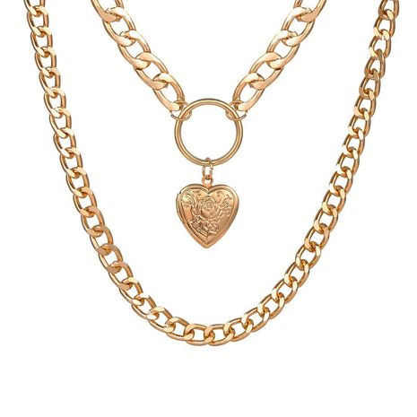 Fashion multi-layer love pendant gold alloy necklace  NHYI254743's discount tags