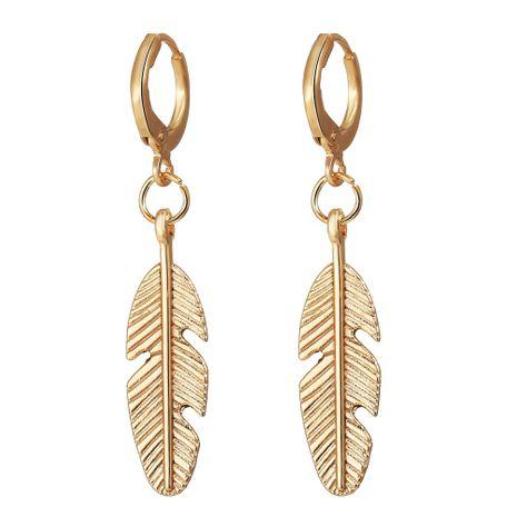 Nuevos pendientes colgantes de plumas de aleación creativos retro simples pendientes de oro de metal al por mayor NHYI254749's discount tags