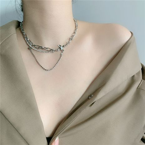new Korean double metal chain pearl windmill pendant clavicle chain wholesale  NHYQ254757's discount tags