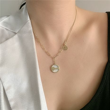 Fashion smiling face pearl hip-hop golden stainless steel pearl necklace NHYQ254765's discount tags