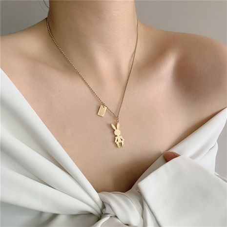 Fashion new temperament stainless steel golden rabbitnecklace NHYQ254764's discount tags