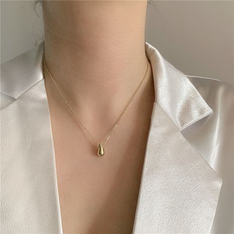 Simple acacia bean pendant necklace stainless steel necklace NHYQ254766's discount tags