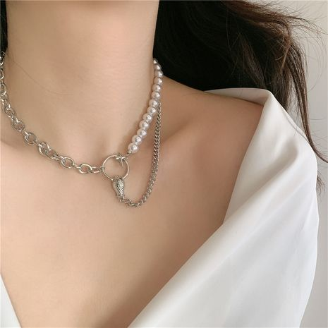 Fashion snake head star pearl chain stitching short clavicle chain necklace  NHYQ254776's discount tags