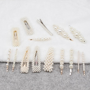 Korean pearl hairpin bangs headdress pearl side clip wholesale  NHCL254783
