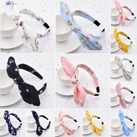 Diadema con lazo de alambre de tela de ala ancha floral para mujer con orejas de conejo coreanas NHCL254786's discount tags