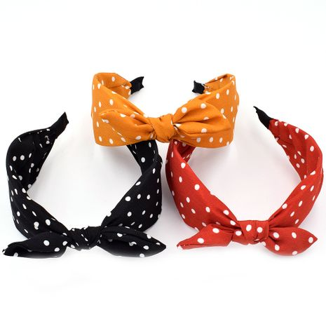 New broadside polka dot polka dot bow tie women's simple fabric knotted hair accessories NHCL254790's discount tags