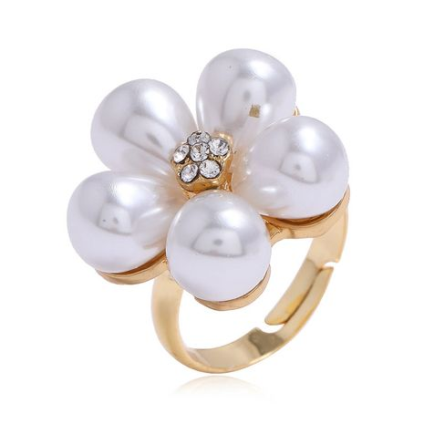 Korean fashion  flower pearl alloy ring for women NHSC255230's discount tags