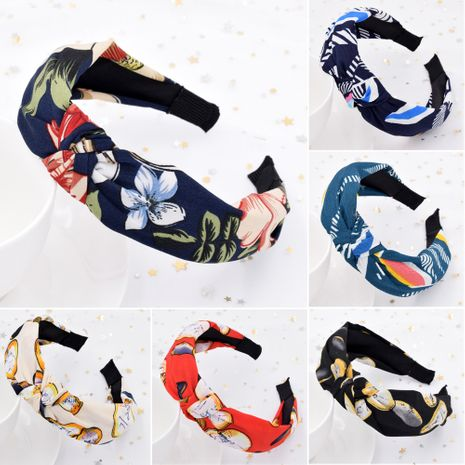 New beauty blond hoop women's retro fabric wide-brimmed flower pressure headband  NHCL254798's discount tags