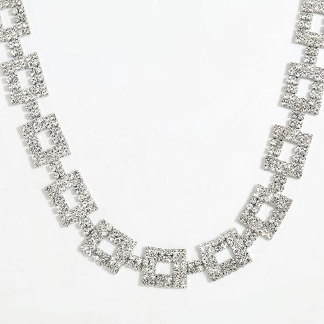 Multilayer Square Alloy Diamond Rhinestone Necklace  wholesale  NHJE254822's discount tags