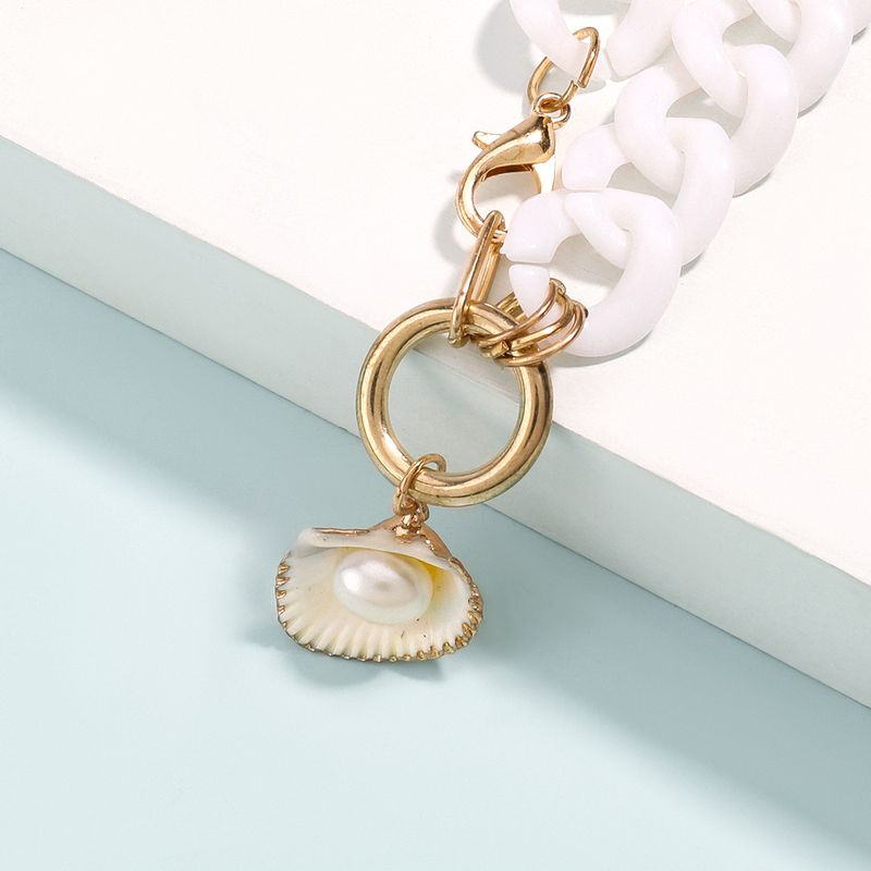 new chain-like resin sweater chain pearl shell pendant hip hop necklace wholesale  NHJE254825