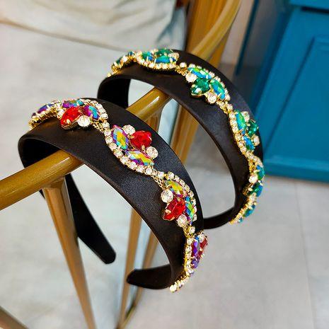 Baroque style black gold velvet rhinestone women's retro wide-brimmed headband  NHUX254835's discount tags