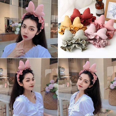 Banda para el cabello linda coreana bowknot doble línea de tela lavado cara presión diadema NHUX254846's discount tags
