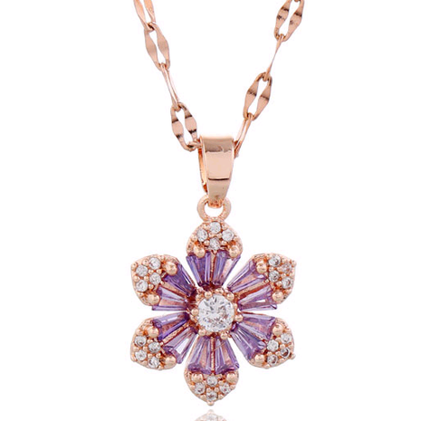 Korean fashion style copper micro-inlaid zircon flower necklace NHSC255225's discount tags