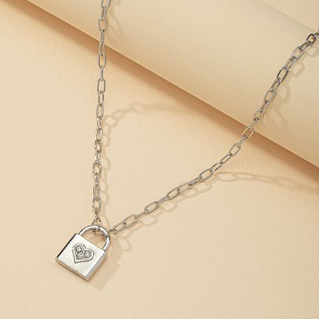 Fashion diamond-studded small lock pendant necklace wholesale NHGU254869's discount tags