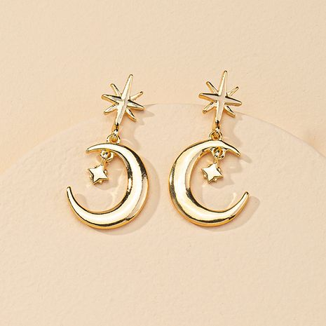 Popular Jewelry 1 Pair of Star and Moon Hot Selling Earrings wholesale  NHGU254879's discount tags