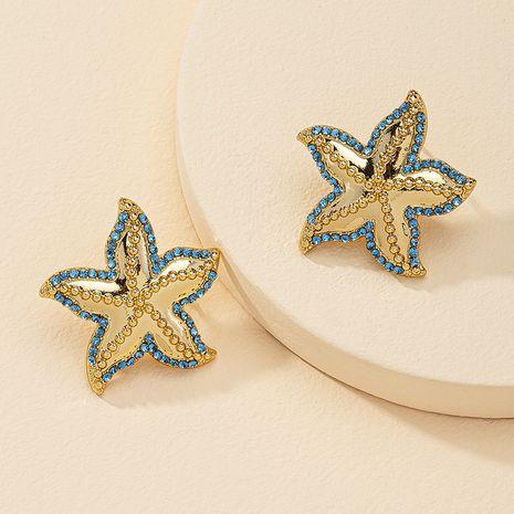 fashion 1 pair of diamond starfish earrings hot selling wholesale  NHGU254893's discount tags
