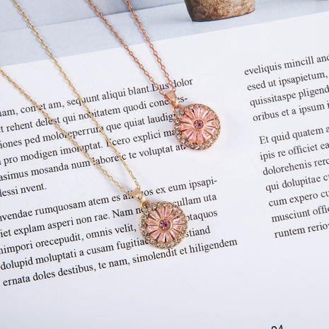 New fashion Sunflower zircon diamond pendant women's necklace NHQS254903's discount tags