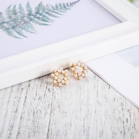 Boucles d'oreilles en perles à l'aiguille en argent Boucles d'oreilles simples et créatives NHQS254904's discount tags