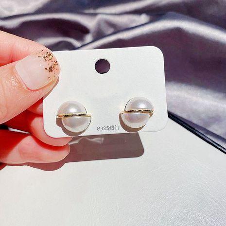 Boucles d'oreilles en perles d'épissage en métal à la mode S925 boucles d'oreilles en or véritable plaquées à l'aiguille en argent NHCG254921's discount tags