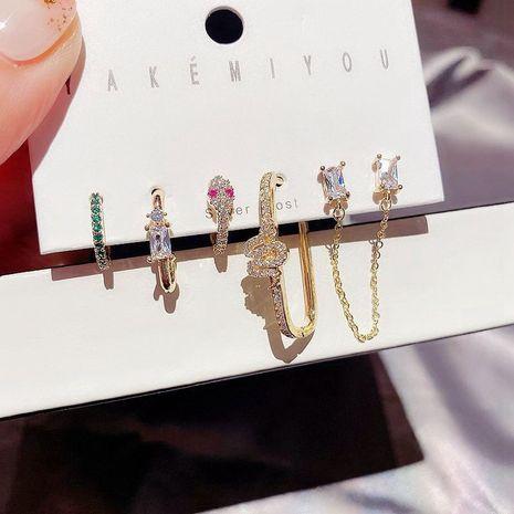 Pendientes de hebilla de serpiente de circón con incrustaciones micro de moda conjunto al por mayor NHCG254930's discount tags